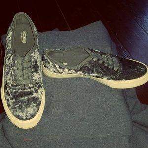 ladies crushed velvet sneakers